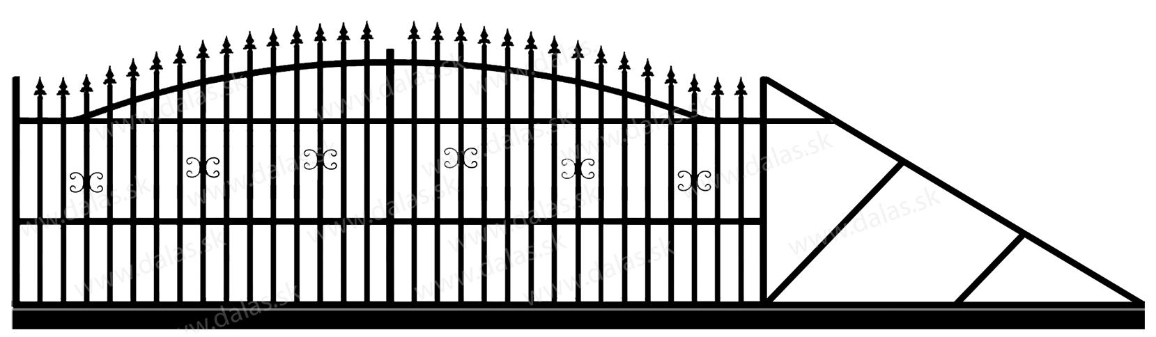 Samonosná posuvná kovová brána A1