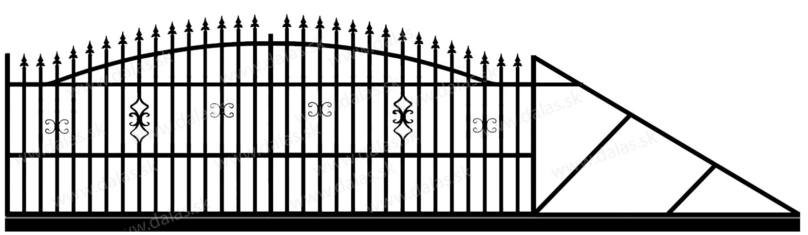 Samonosná posuvná kovová brána A2
