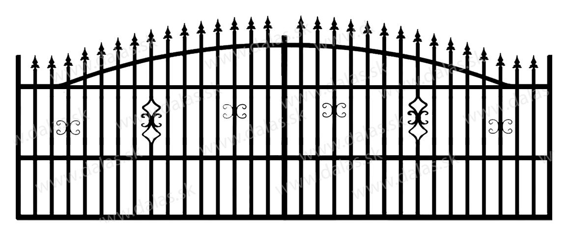 Koľajová kovová brána A2