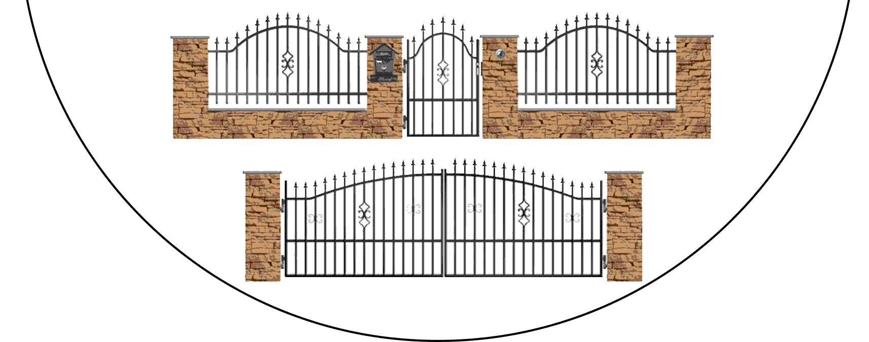 Zostava kovových plotov A2