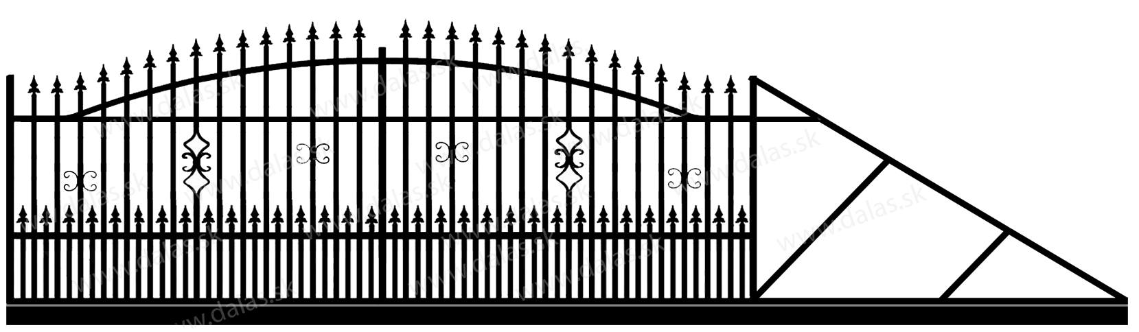 Samonosná posuvná kovová brána A2+