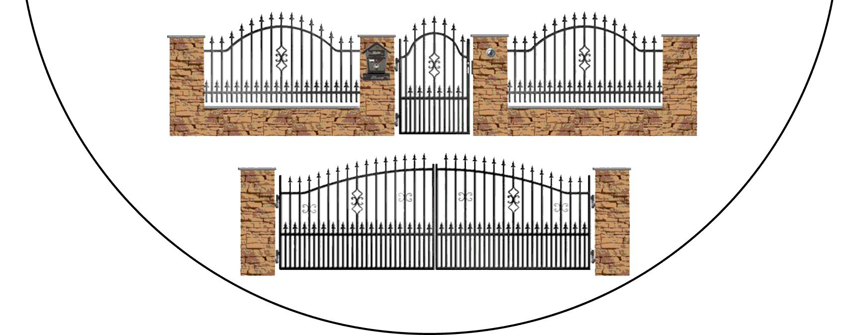 Zostava kovových plotov A2+