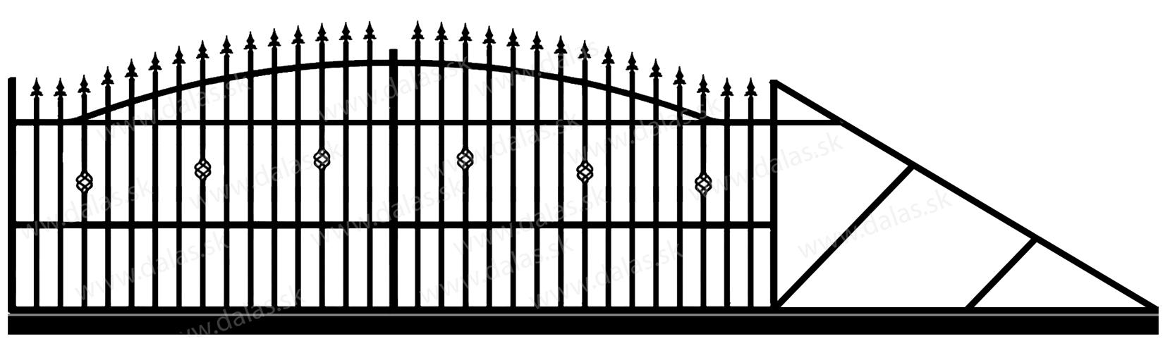 Samonosná posuvná kovová brána A3