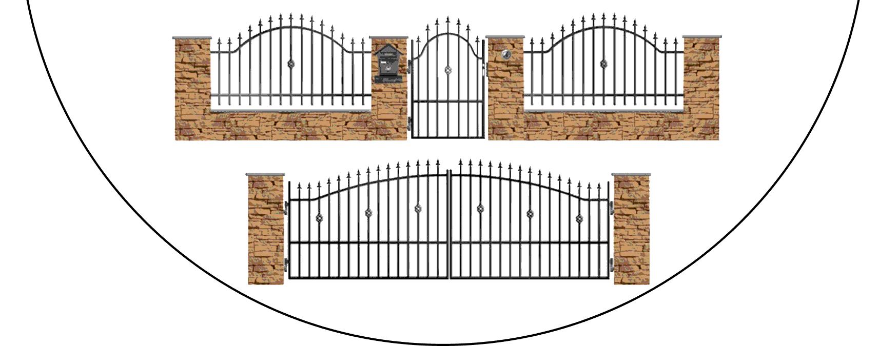 Zostava kovových plotov A3