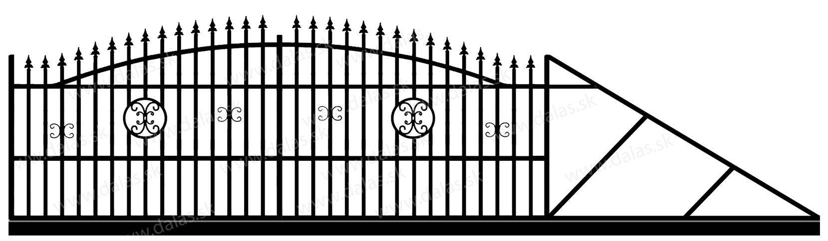 Samonosná posuvná kovová brána A4