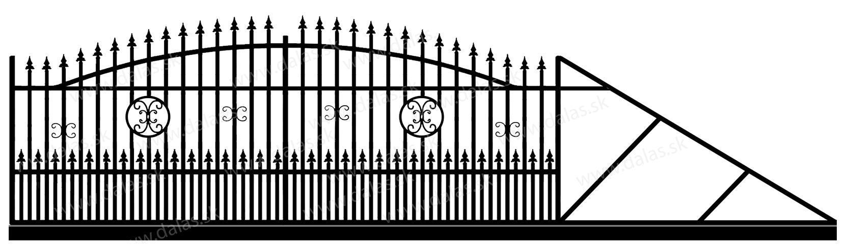Samonosná posuvná kovová brána A4+
