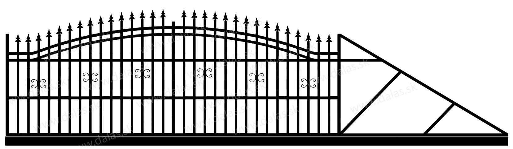 Samonosná posuvná kovová brána B1