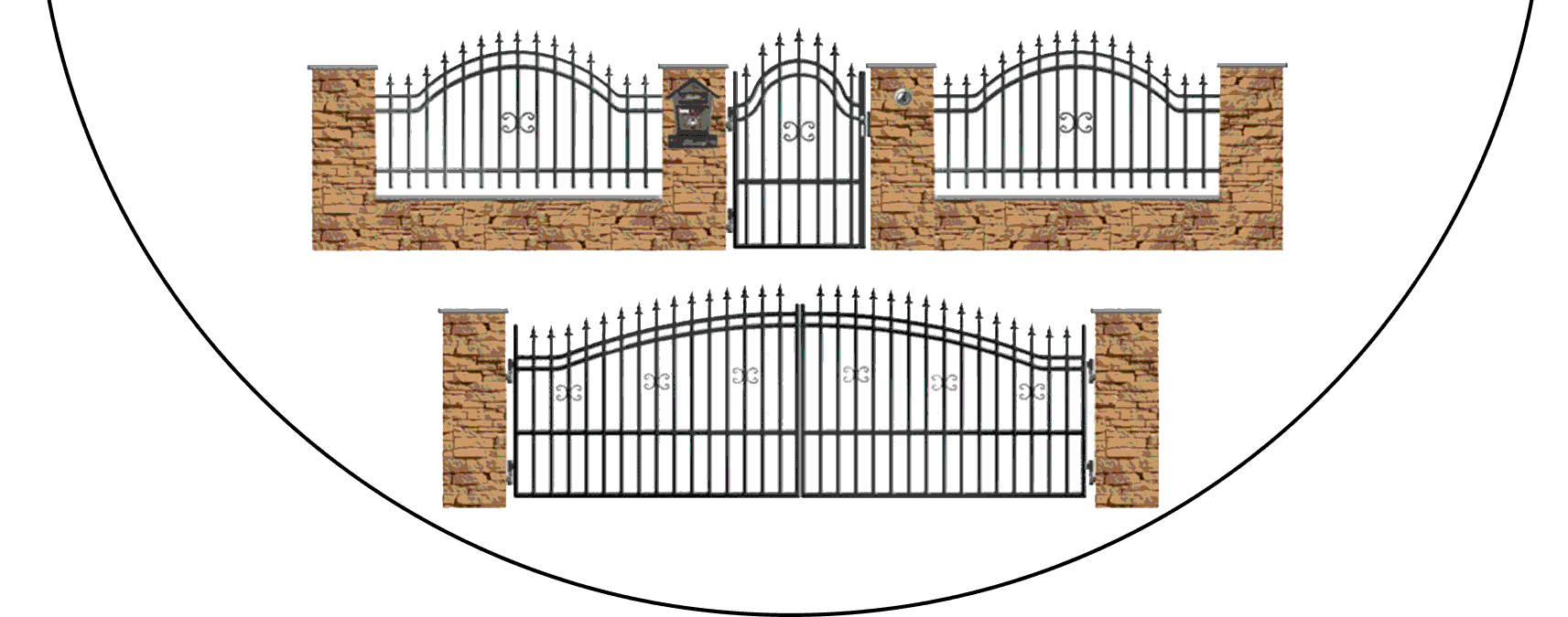 Zostava kovových plotov B1