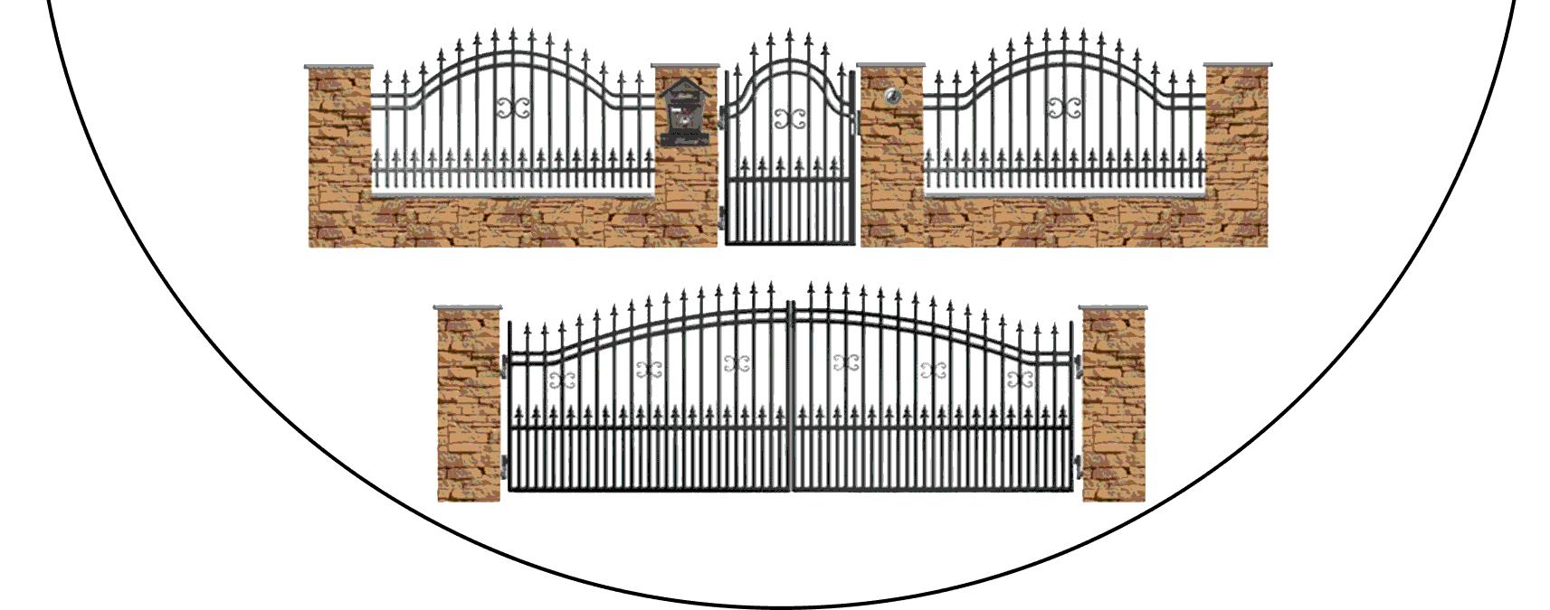 Zostava kovových plotov B1+