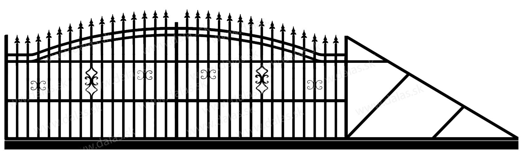 Samonosná posuvná kovová brána B2