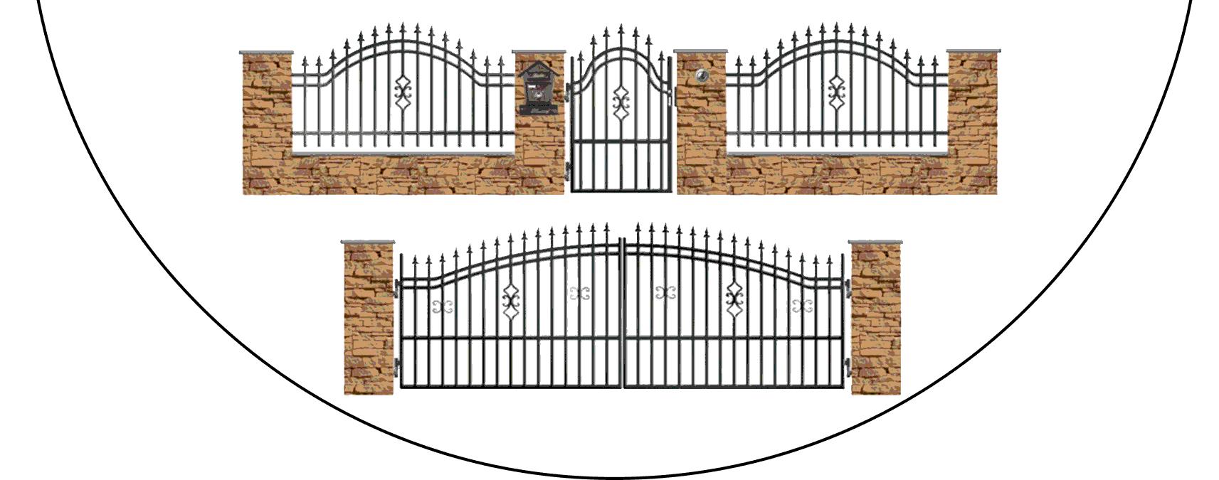 Zostava kovových plotov B2