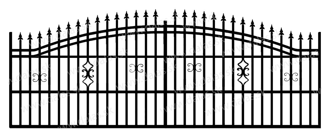 Koľajová kovová brána B2