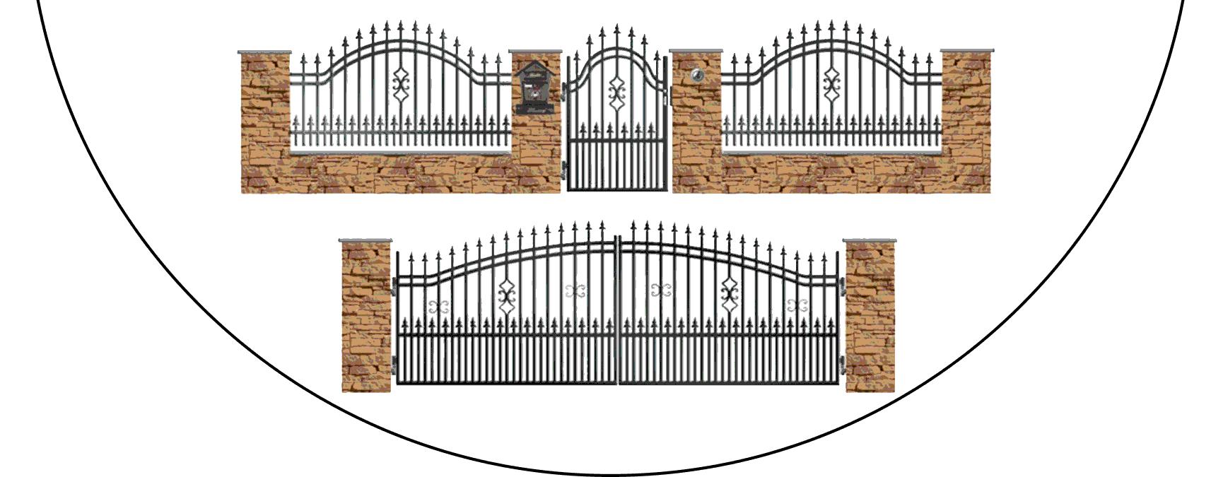 Zostava kovových plotov B2+