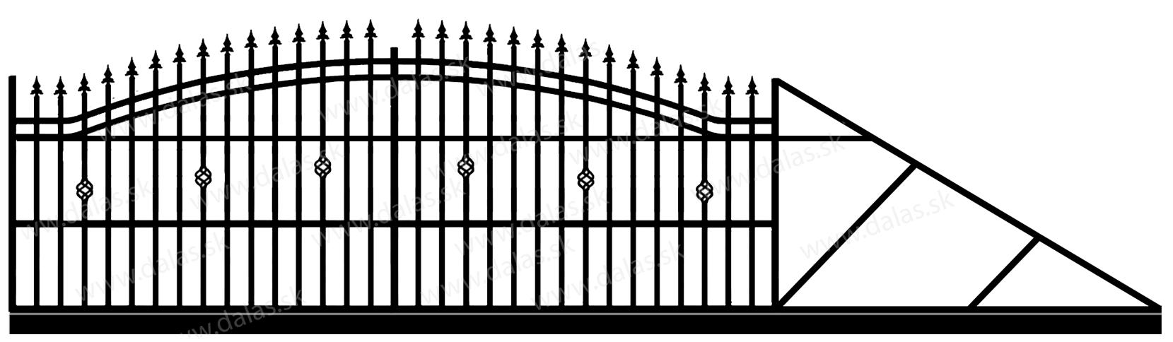 Samonosná posuvná kovová brána B3