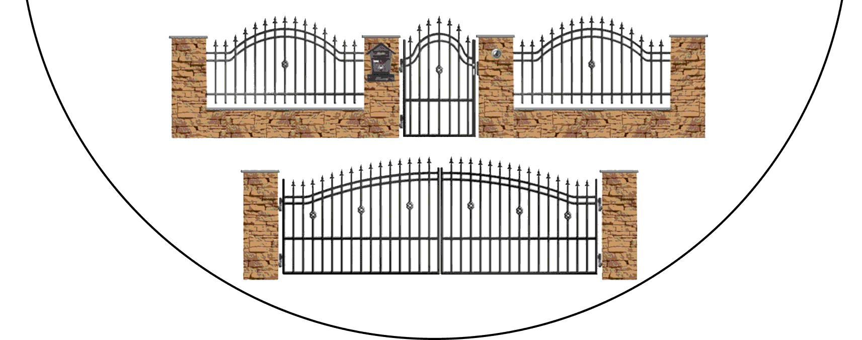 Zostava kovových plotov B3