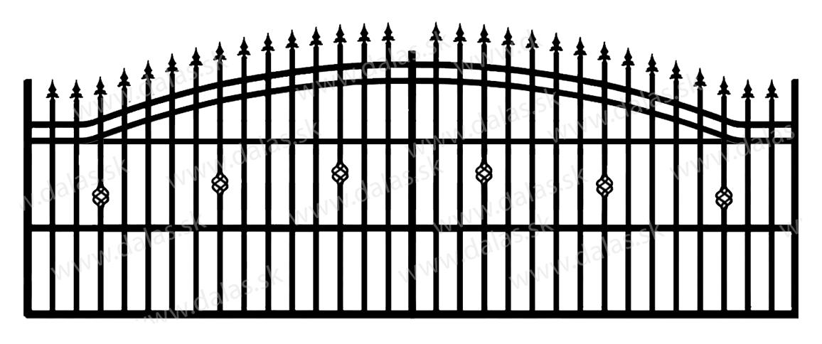 Koľajová kovová brána B3