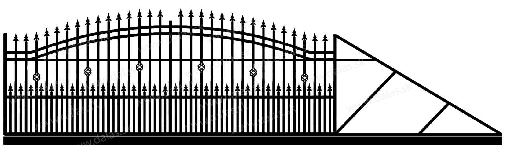 Samonosná posuvná kovová brána B3+