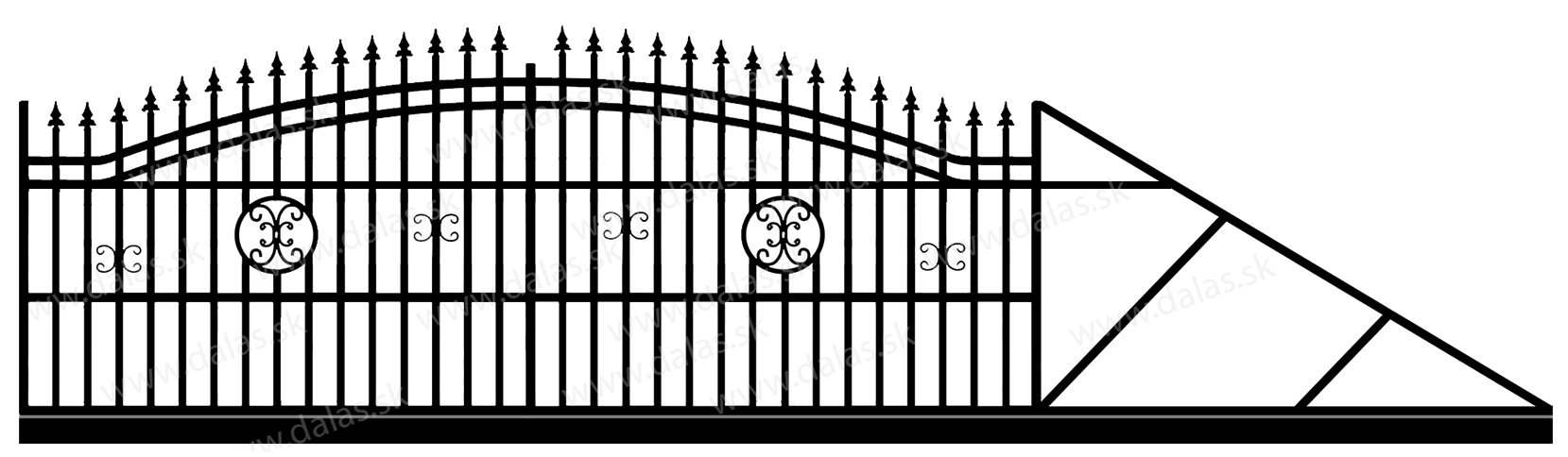 Samonosná posuvná kovová brána B4
