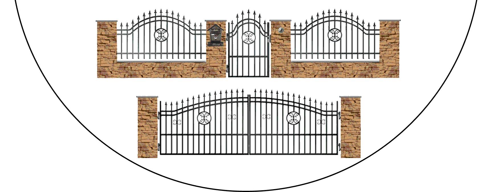 Zostava kovových plotov B4