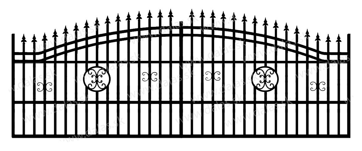 Koľajová kovová brána B4
