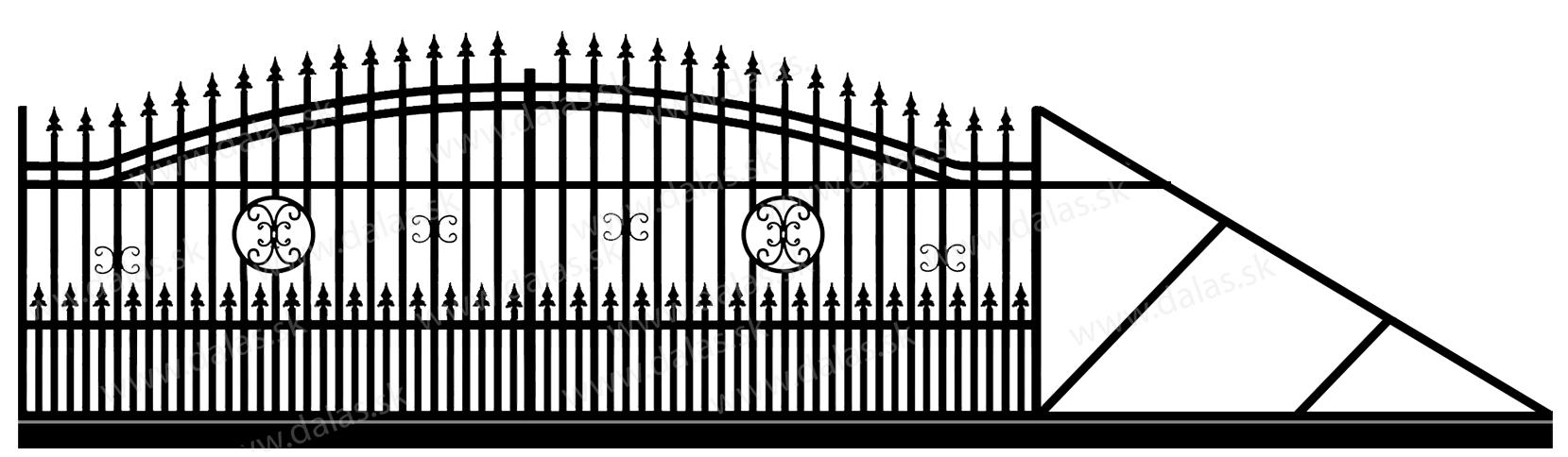 Samonosná posuvná kovová brána B4+