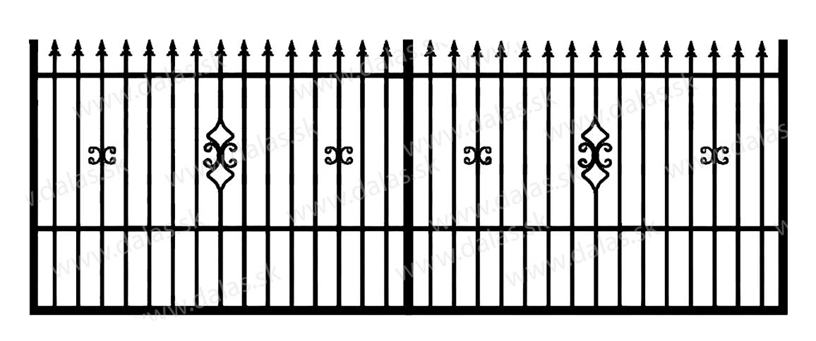Koľajová kovová brána C2