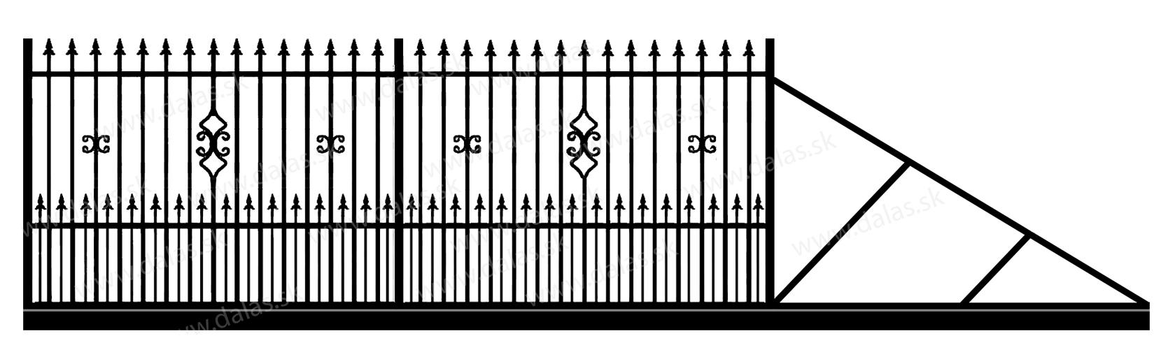 Samonosná posuvná kovová brána C2+