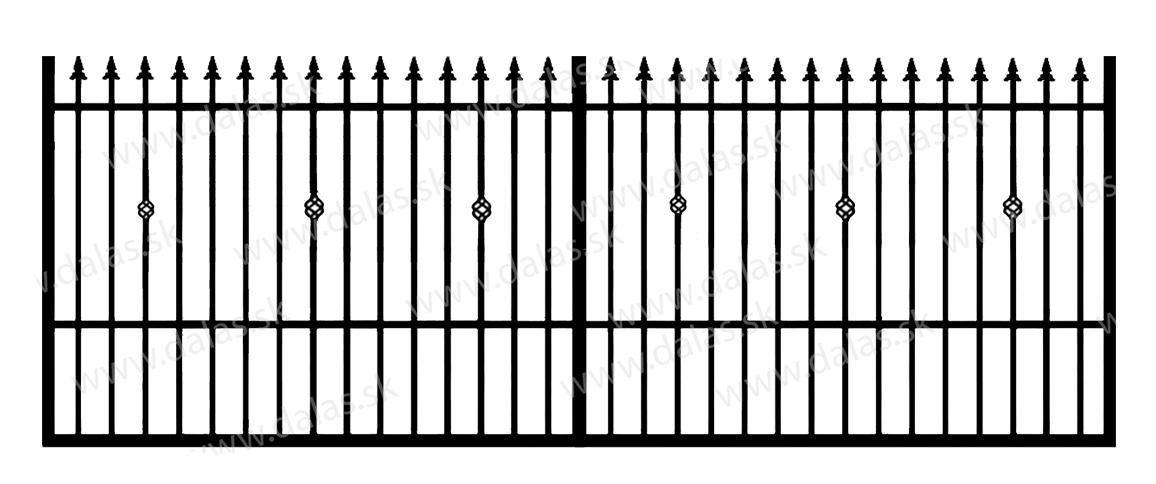 Koľajová kovová brána C3