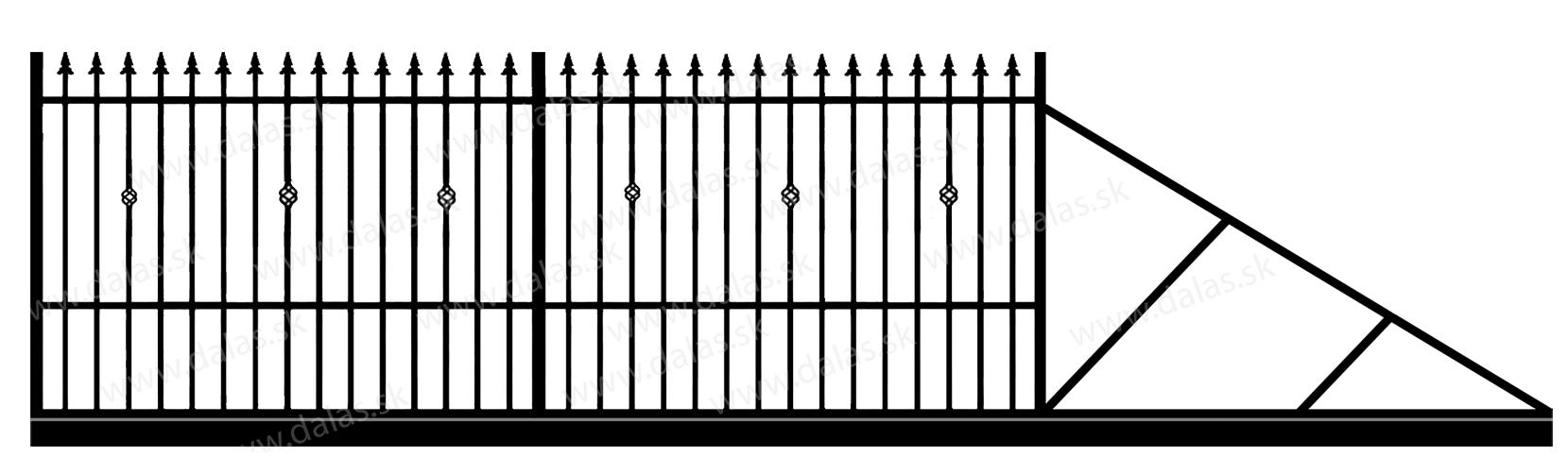 Samonosná posuvná kovová brána C3