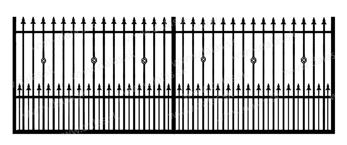 Koľajová kovová brána C3+