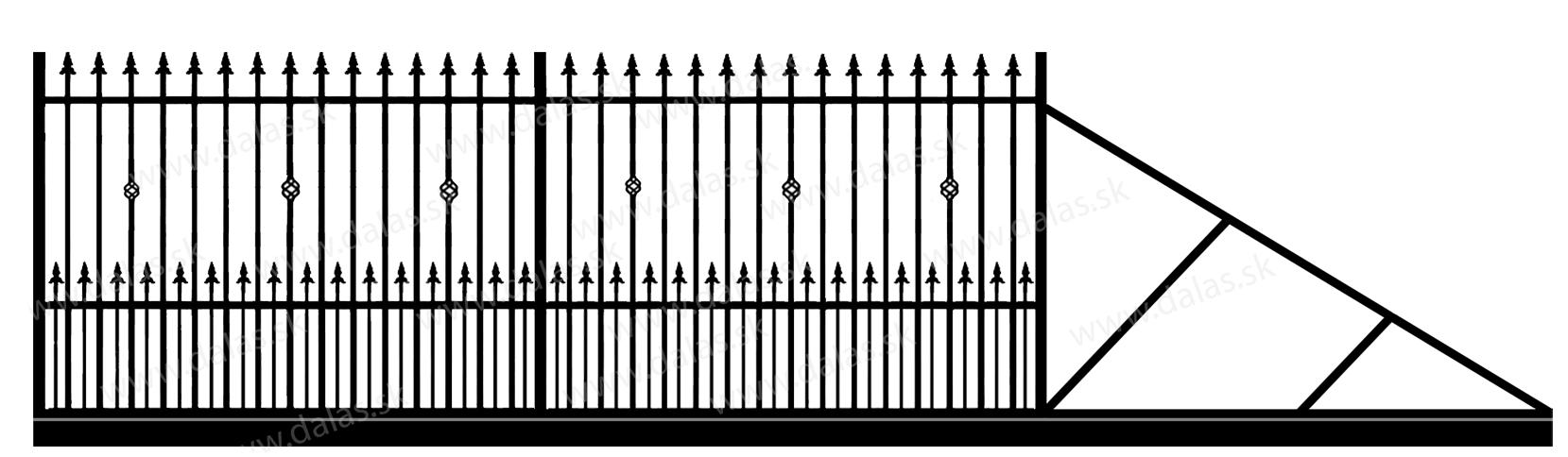 Samonosná posuvná kovová brána C3+