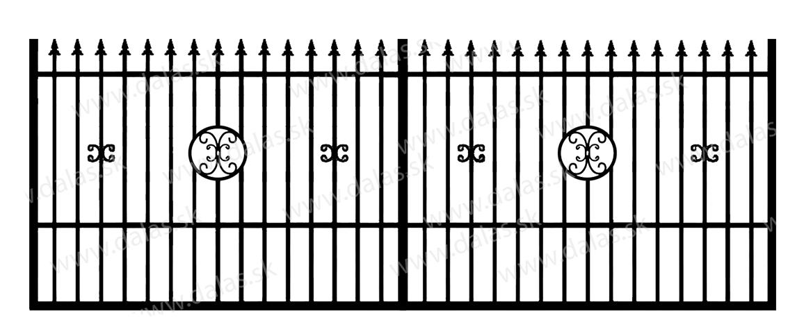Koľajová kovová brána C4