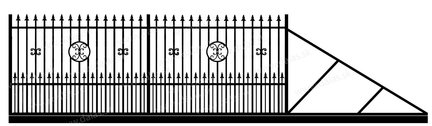 Samonosná posuvná kovová brána C4+