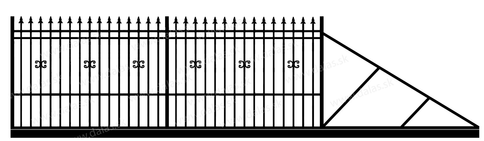 Samonosná posuvná kovová brána D1