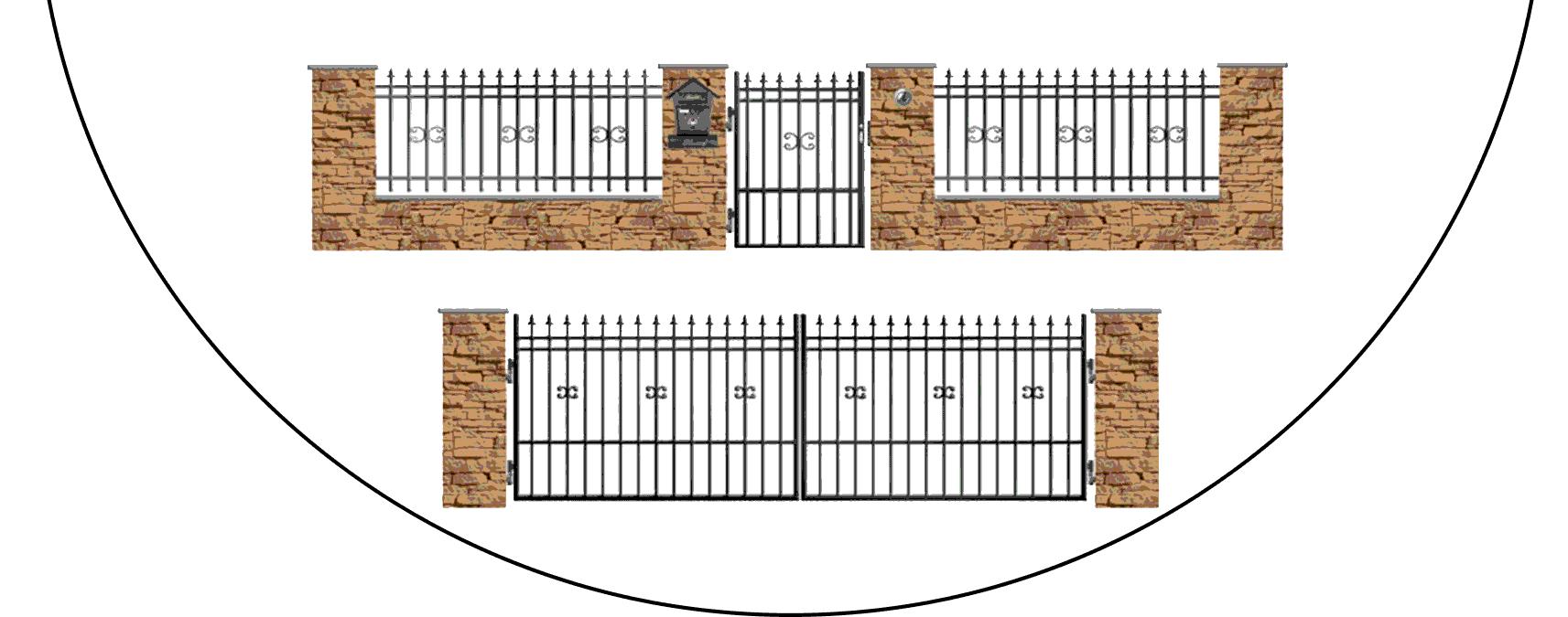 Zostava kovových plotov D1