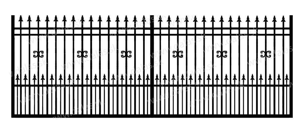 Koľajová kovová brána D1+