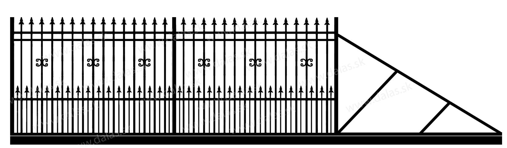 Samonosná posuvná kovová brána D1+