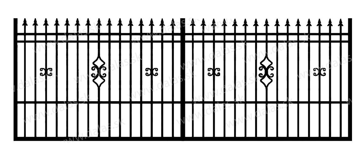 Koľajová kovová brána D2