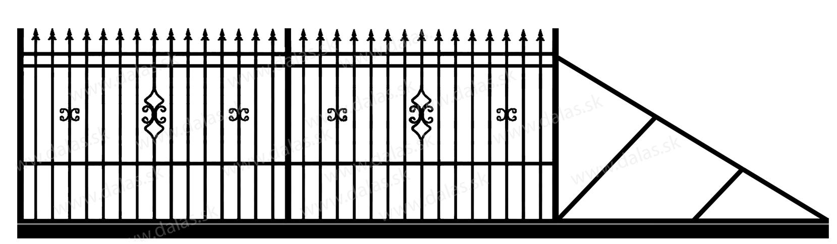 Samonosná posuvná kovová brána D2