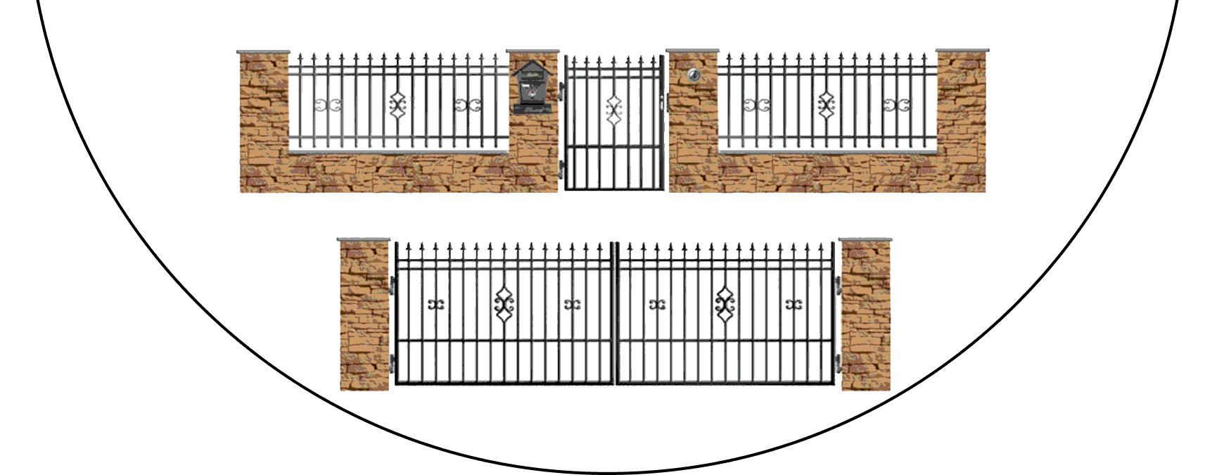 Zostava kovových plotov D2