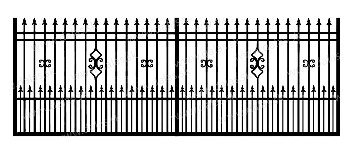 Koľajová kovová brána D2+