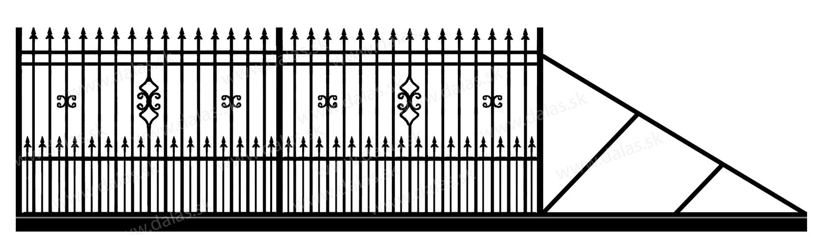 Samonosná posuvná kovová brána D2+