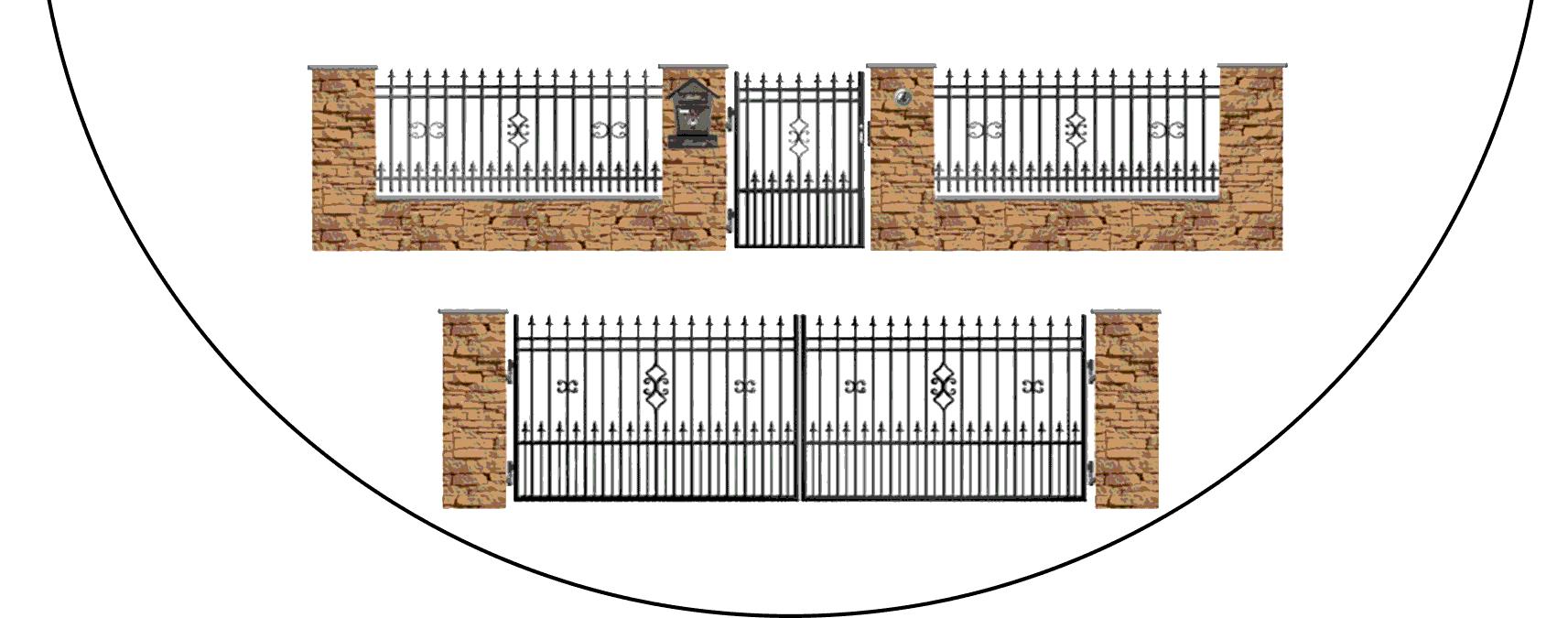 Zostava kovových plotov D2+