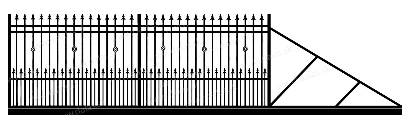 Samonosná posuvná kovová brána D3+