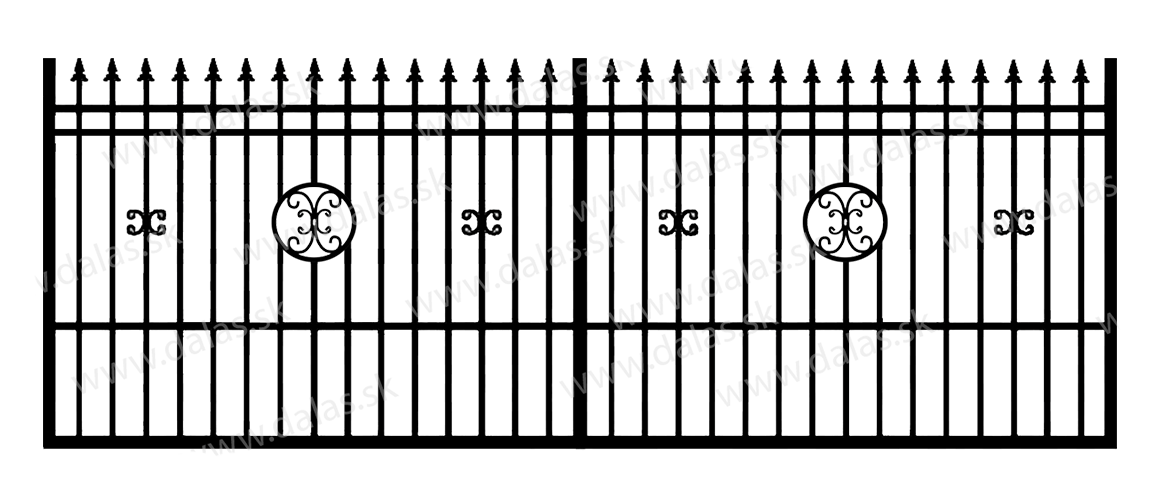 Koľajová kovová brána D4