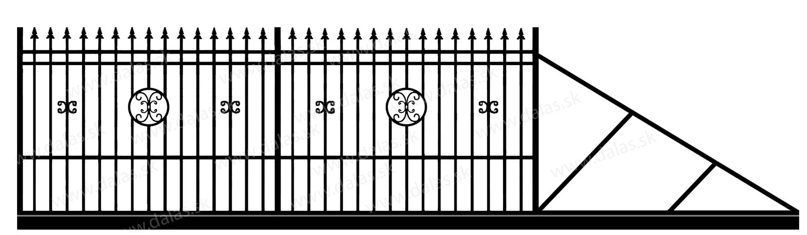 Samonosná posuvná kovová brána D4