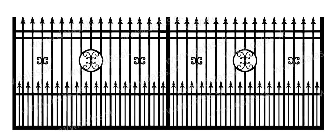 Koľajová kovová brána D4+