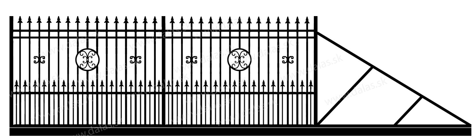 Samonosná posuvná kovová brána D4+