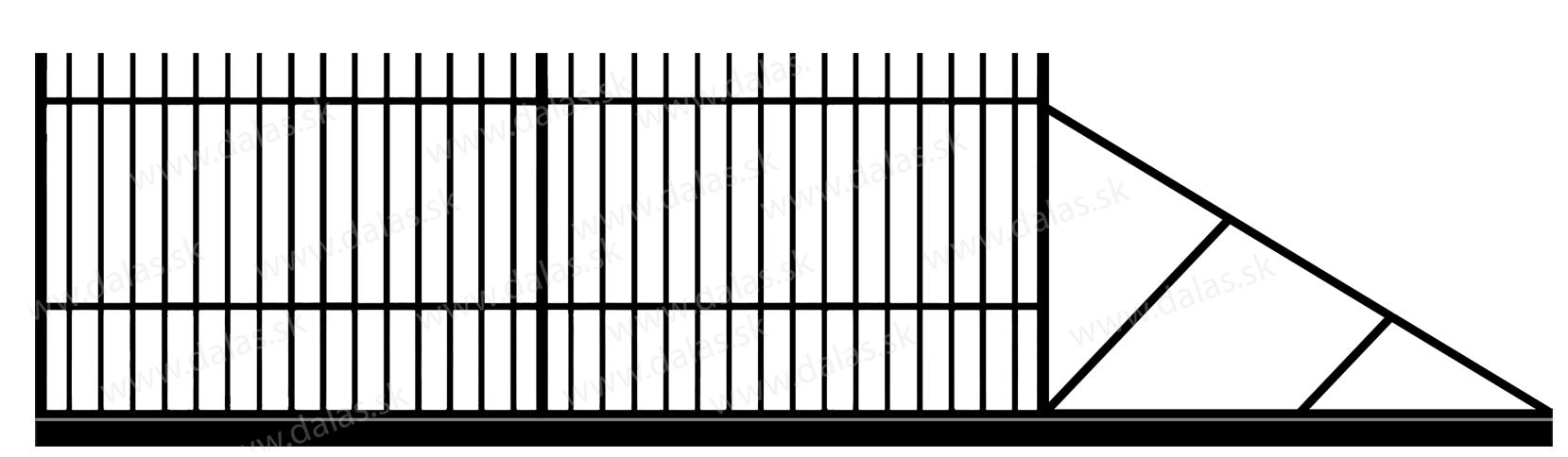 Samonosná posuvná kovová brána E1