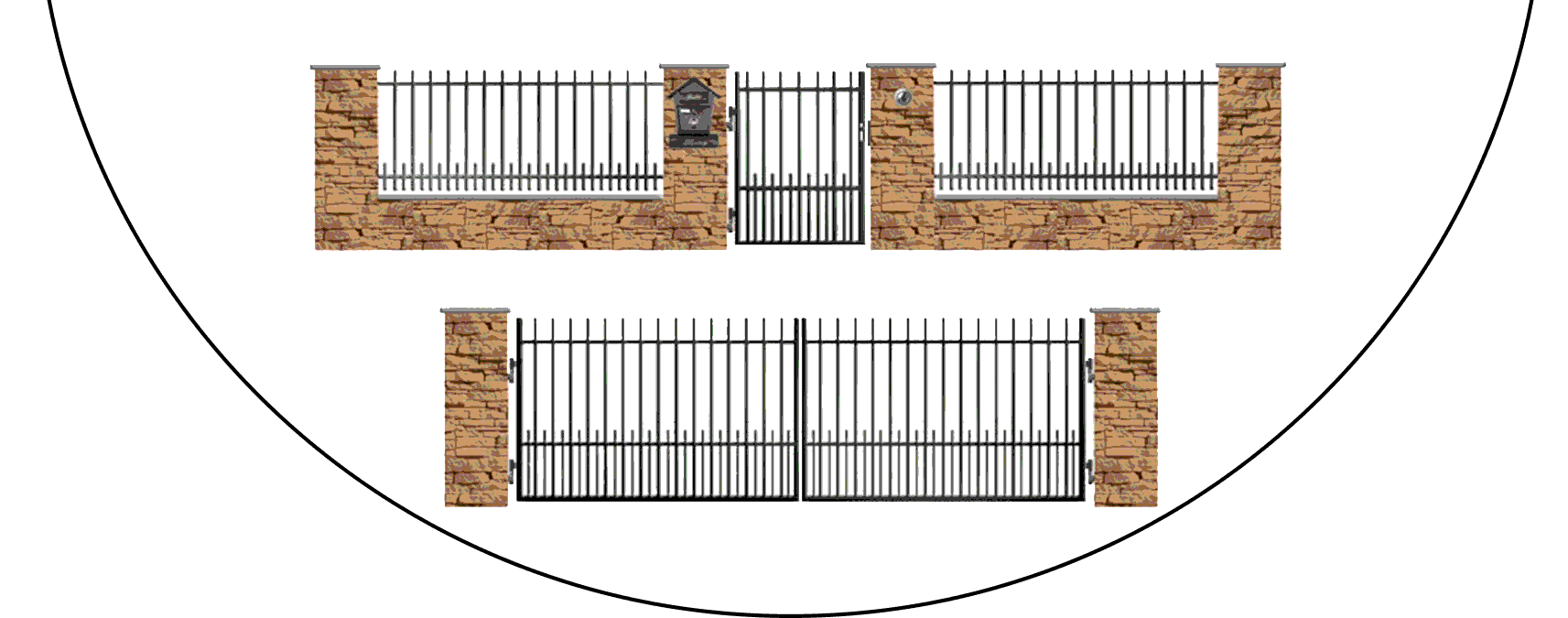 Zostava kovových plotov E1+
